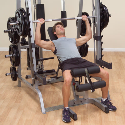 Body Solid GS348Q smith machine black and silver shoulder press  simpsons fitness supply