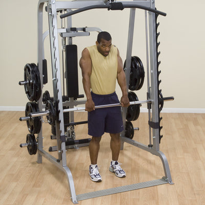 Body Solid GS348Q smith machine black and silver shrugs simpsons fitness supply