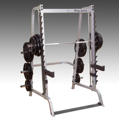 Body Solid GS348Q smith machine black and silver simpsons fitness supply