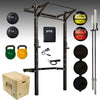 PRX Folding Squat Rack, barbell, bumper plates, kettlebell, slam ball, plyo box, medicine ball