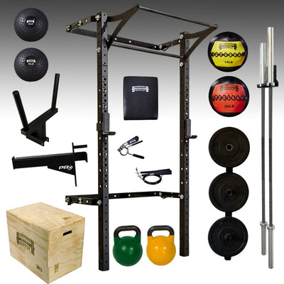 Prx performance pro folding rack, medicine ball, slam ball, barbell, plyo box, comp kettlebells