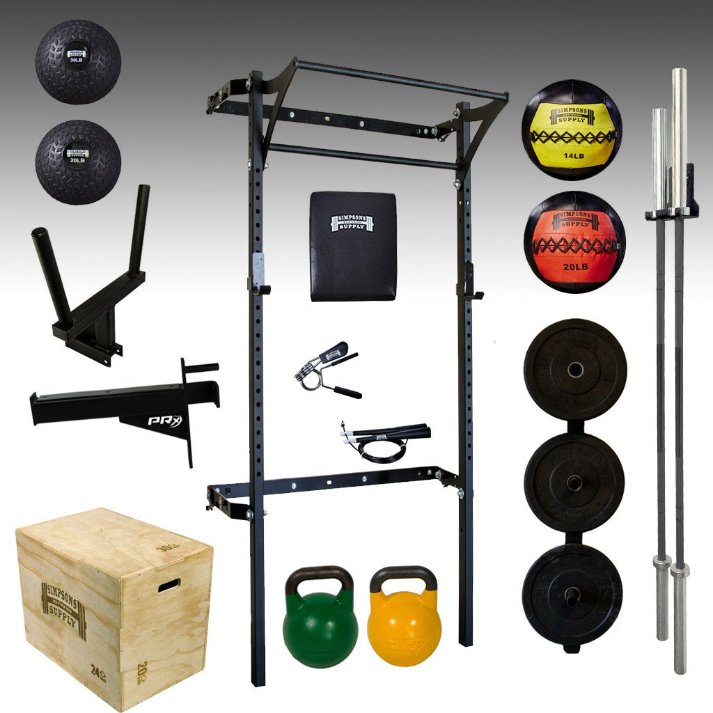 PEX profile space saving squat rack bumper plates, barbell, kettlebell, kipping bar
