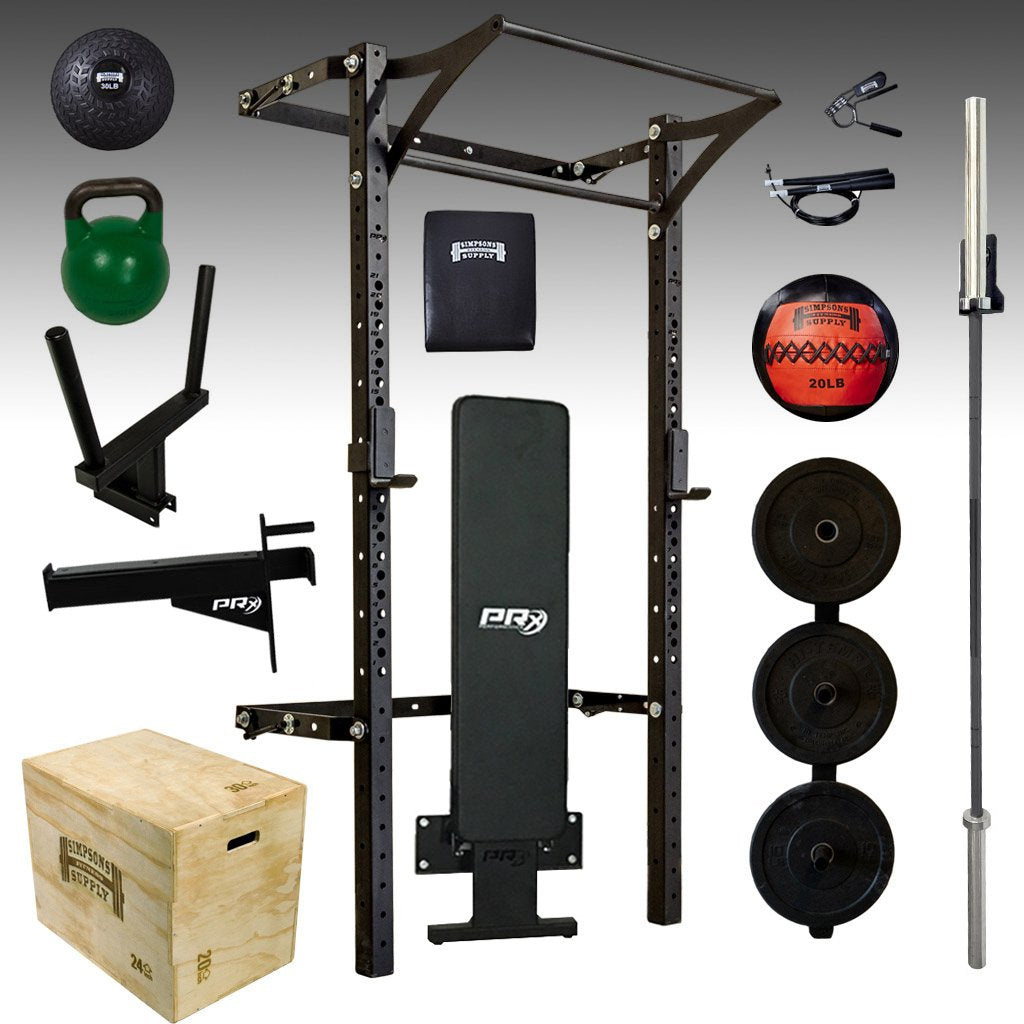 PRX performance elite garage gym pro package bumper plates, folding bench, barbell, kettlebell