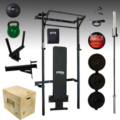 PRX mens elite profile garage gym package bumper plates, barbell, plyo box dip station