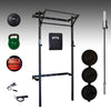PRX profile mens garage gym package, barbell, bumper plates, red wall ball