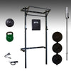 prx performance pro space saving squat rack, barbell, bumper plates, slam ball, kettlebell