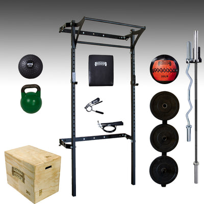 PRX performance folding squat rack, barbell, curl bar, bumper plates, kettlebell, plyo box, ab mat