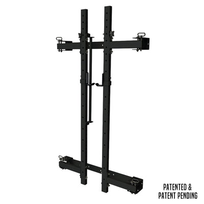 PRX wall mounted murphy rack folded up squat rack black with pull up bar