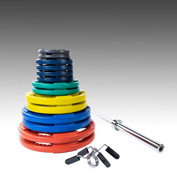 Body Solid 300lb color grip plate set with 7' chrome barbell and spring collars