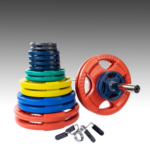Body Solid 400lb color grip plate set with 7' chrome barbell and spring collars