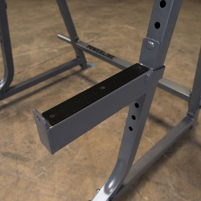 spotter arms on powerline squat rack silver and black