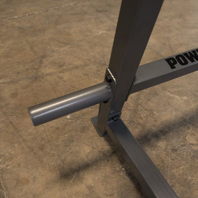 chrome weight storage pegs on powerline squat rack