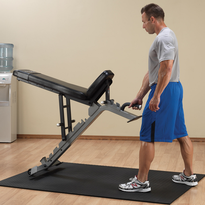 Body-Solid SFID325 adjustable bench black and silver flat incline bench moving bench with wheels