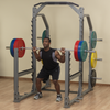 guy doing squats silver pro clubline squat rack SMR1000