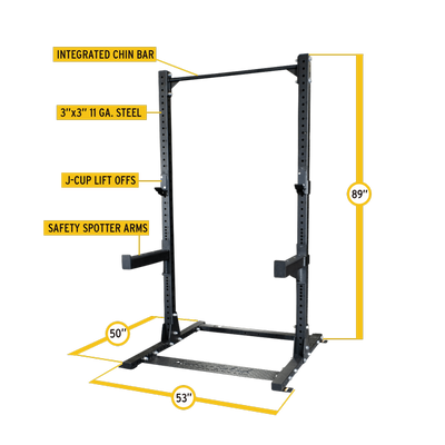 Body Solid SPR500 half rack black with pull-up bar, j-hooks, safety spotter arms dimensions