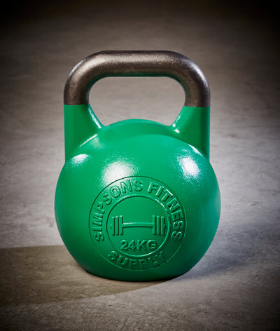 Green 24kg competition kettlebell 53 pounds