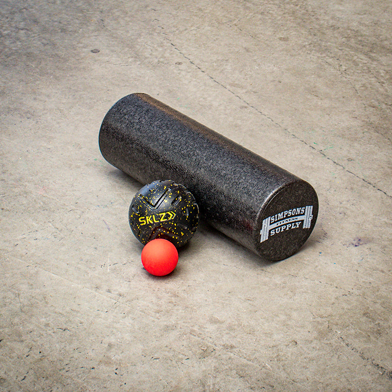 Simpsons Fitness Supply Black Roller, Lacrosse balls, SKLZ Black massage roller