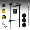 prx profile space saving squat rack, barbell, bumper plates, yellow kettlebell, 20lb slam ball