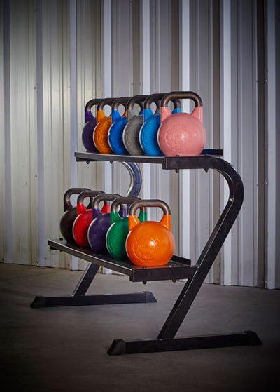 Competition Kettlbells on storage rack full set simpsons fitness supply colorado
