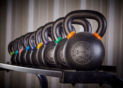 Kettlebells complete set black cast iron with storage rack - Simpsons Fitness Supply