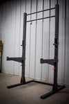 "Black half squat rack fat / skinny pull-up bar 3"" x 3"" uprights safety spotter arms simpsons fitness supply squat rack"