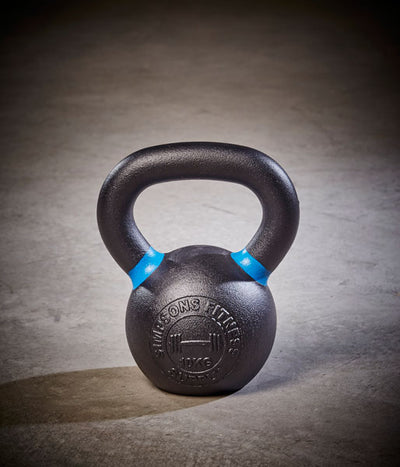 Kettlebell - Medium 10kg black and blue cast iron - Simpsons Fitness Supply