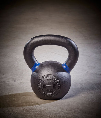 Kettlebell - Medium 12kg black and blue cast iron - Simpsons Fitness Supply