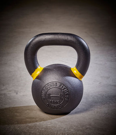 Kettlebell - Medium 16kg black and yellow cast iron - Simpsons Fitness Supply