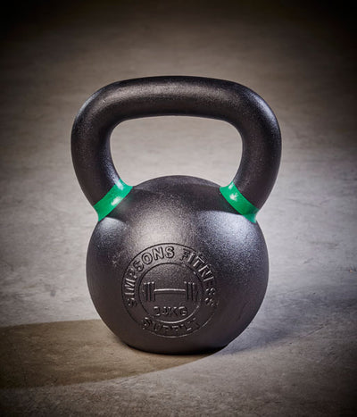 Cast Iron Kettlebell green and black 24kg - Simpsons Fitness Supply