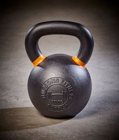 Kettlebell - Large black and orange cast iron 28kg - Simpsons Fitness Supply