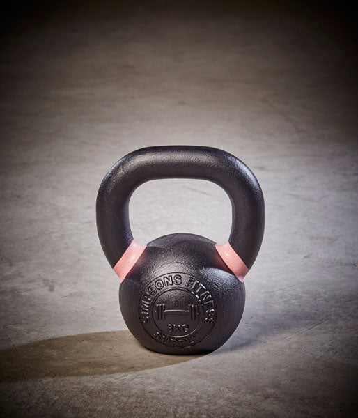 Kettlebell - Small 8kg pink and black cast iron - Simpsons Fitness Supply