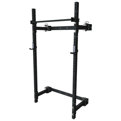 PRX wall mounted murphy rack folding squat rack black with pull up bar