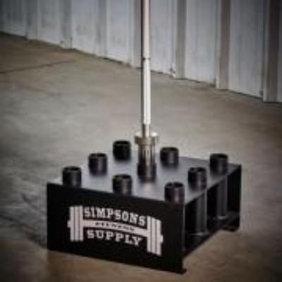 Nine Olympic Barbell Holder with Barbell