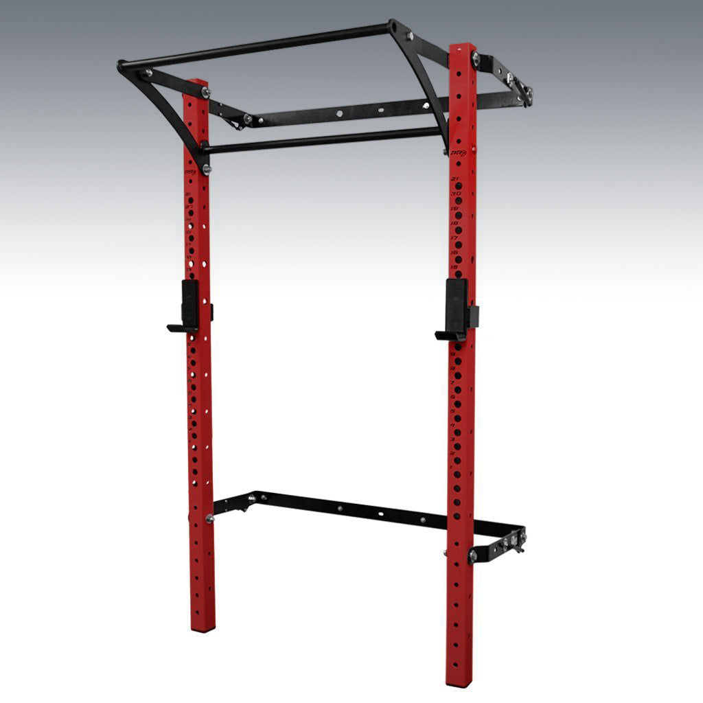 PRX performance profile pro folding squat rack red with kipping bar