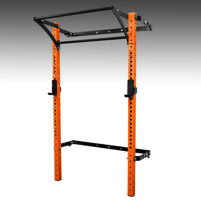 PRX performance profile pro folding squat rack orange with kipping bar