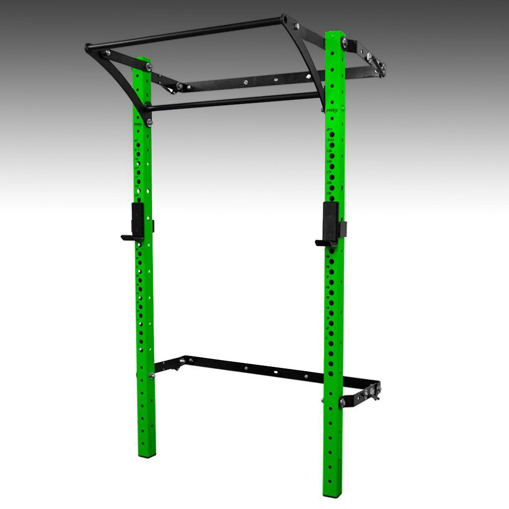 PRX performance profile pro folding squat rack neon green with kipping bar