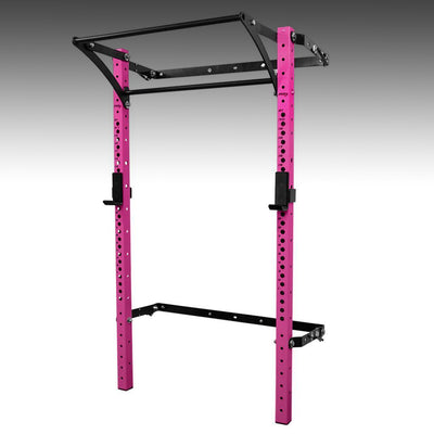 PRX performance profile pro folding squat rack pink with kipping bar