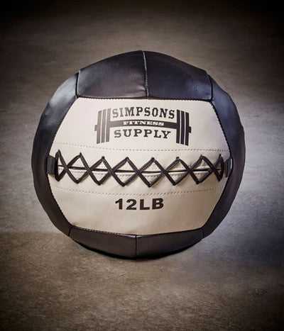 Medicine Ball Wall Ball 12lb White and black Simpsons Fitness Supply