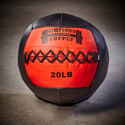 Medicine Ball Wall Ball 20lb Red and black Simpsons Fitness Supply wallball