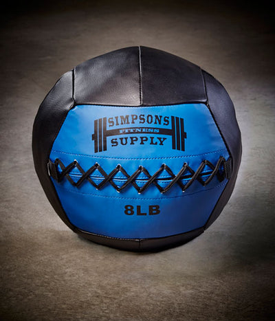 Medicine Ball Wall Ball 8lb Blue and black Simpsons Fitness Supply