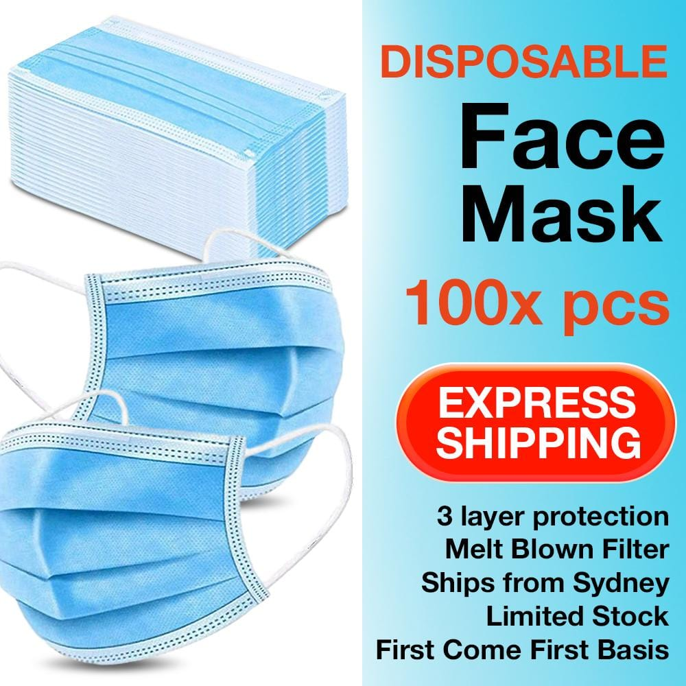 100Pk 3 Layer Protective Disposable Face Masks - Brilliant Co