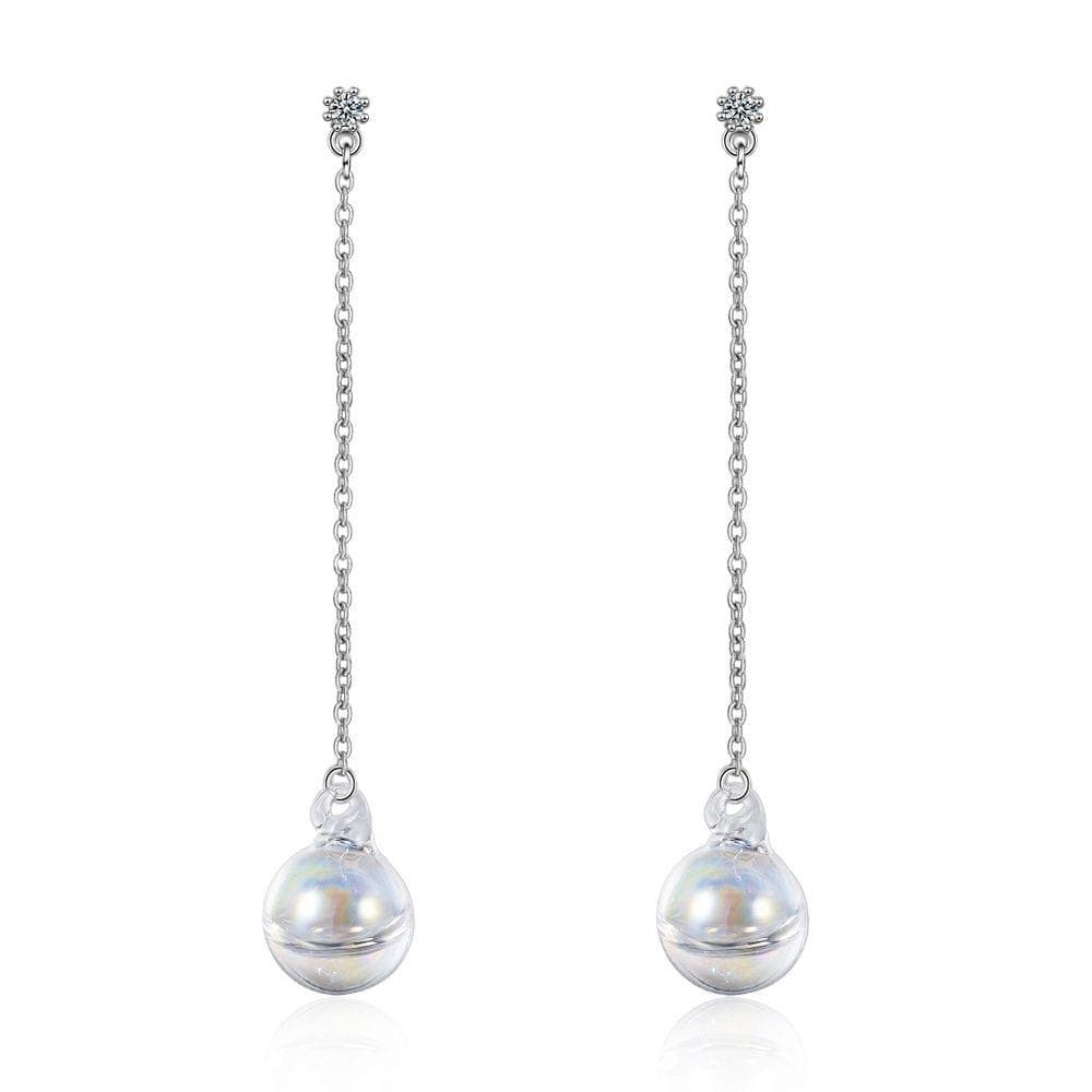 Sphere Rainbow Glass White Gold Layered Dangle Earrings - Brilliant Co