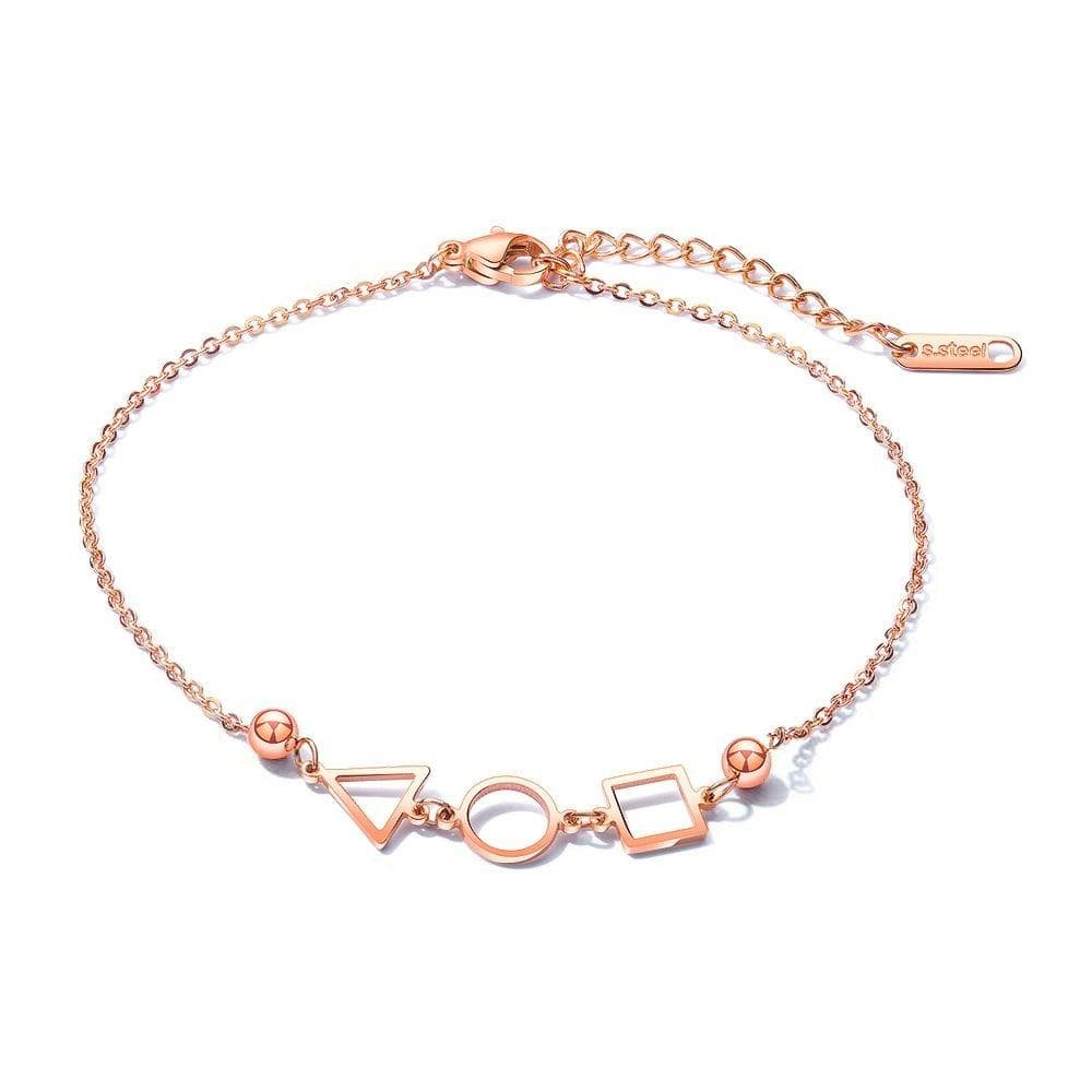 Geometric Styled Summer Ankle Chain Rose Gold Layered Anklet - Brilliant Co