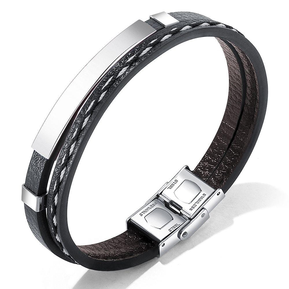 Daily Wear Minimalistic Vegan Leather Bracelet White Gold - Brilliant Co