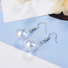 Clear Rainbow Glass Bubble White Gold Layered Drop Earrings - Brilliant Co