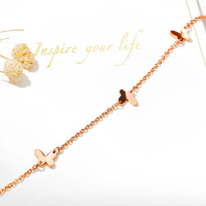 Charming Four Butterflies Single Chain Casual Rose Gold Layered Anklet - Brilliant Co