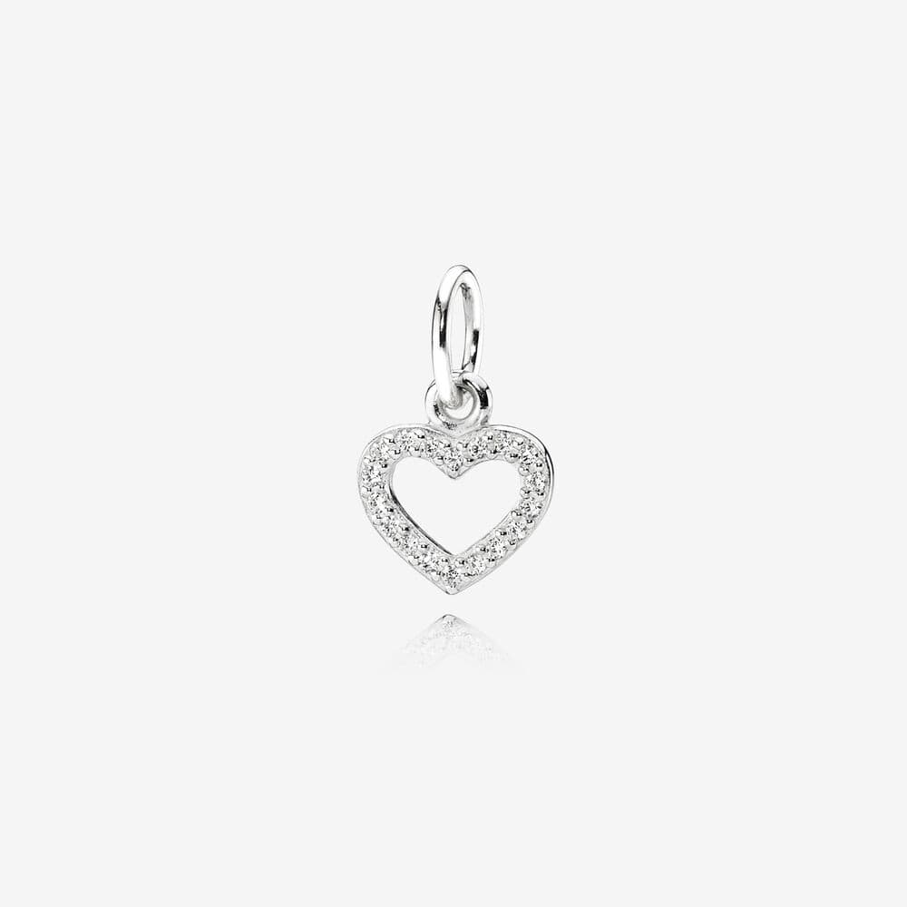 Open Heart Silver Pave Necklace Pendant - PANDORA - Brilliant Co