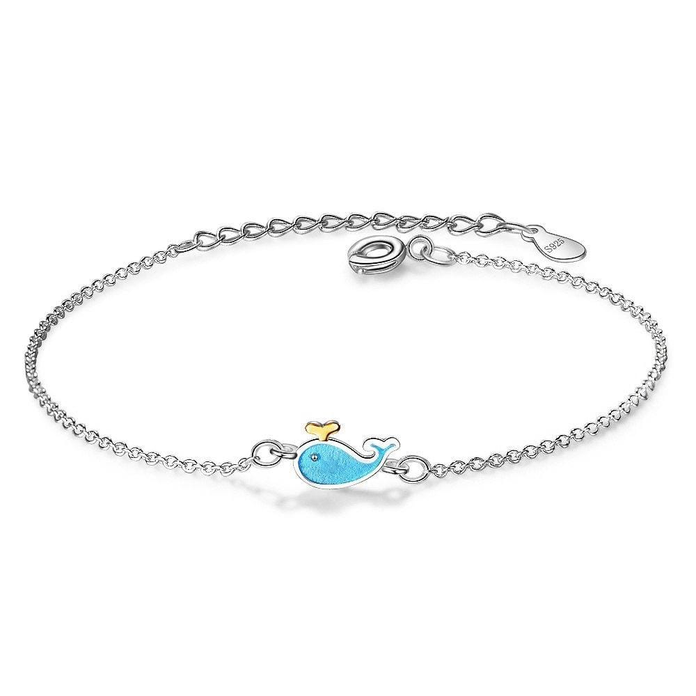 Ocean Inspired Cute Blue Whale Silver Bracelet - Brilliant Co