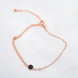 Single Black Dial Charm Resin Chain Rose Gold Layered Anklet - Brilliant Co