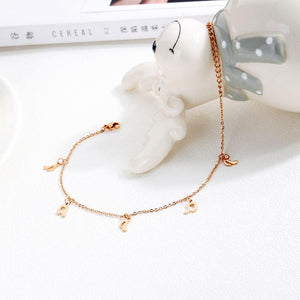 Dangling Musical Note Everyday Wear Rose Gold Layered Anklet - Brilliant Co